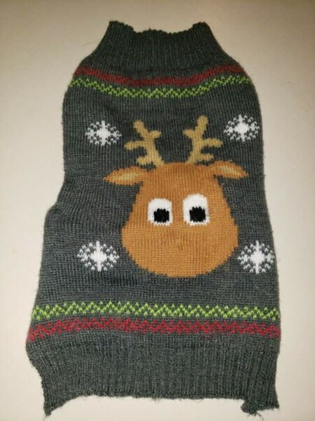 PUPPY DOG male female REINDEER CHRISTMAS GRAY SWEATER knit size medium WINTER $3.40