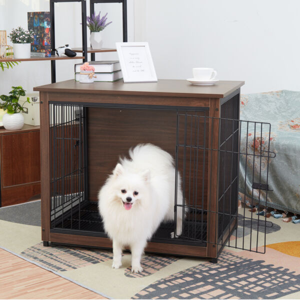 Rustic Solid Wood Iron Dog Cages Crates Coffee Side End table Two Gates w Tray $149.93