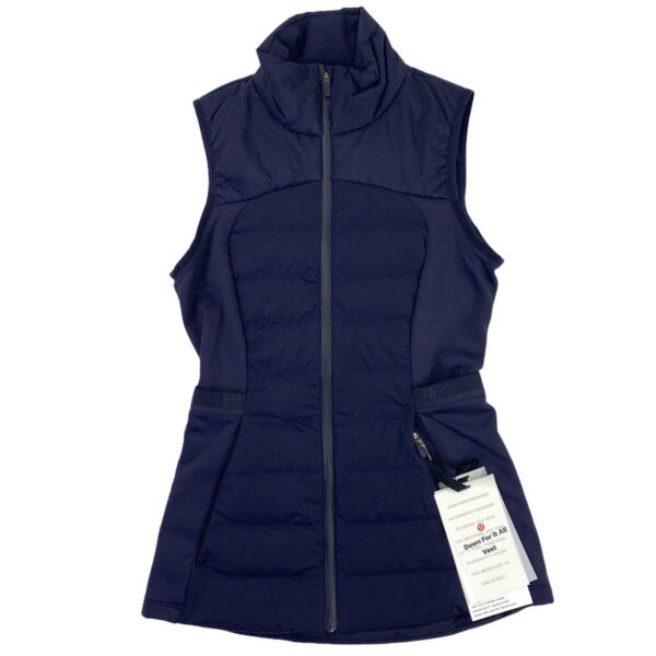 Lululemon Down for It all Vest Size 0 Womens Water and Wind Resistant Navy NEW $71.96