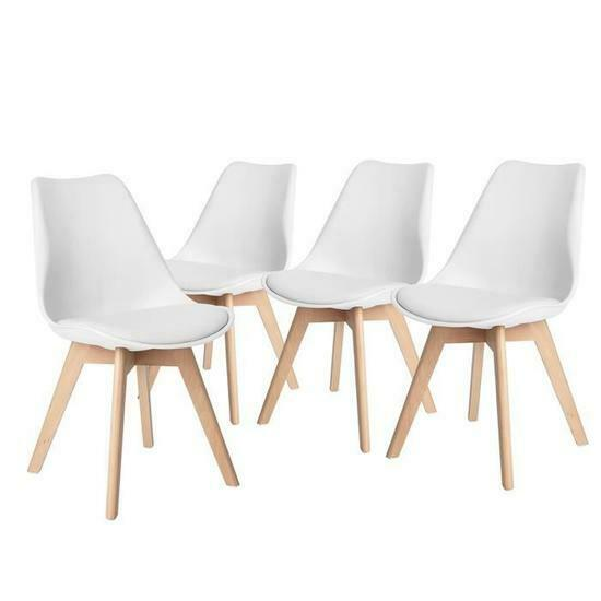 Retro Modern Dining Chairs Plastic Chair for Living Room Kitchen LoungeSet of 4