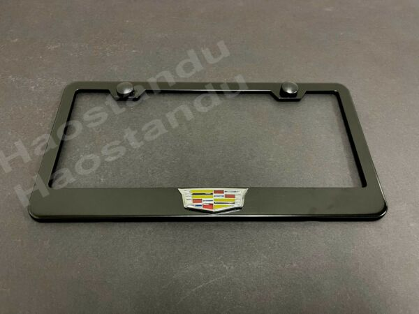 1xCadillacLOGO 3D Emblem BLACK Stainless License Plate Frame RUST FREE COLOR