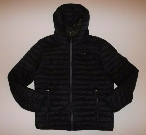 TOMMY HILFIGER Navy Blue Quilted Puffer Jacket Coat Size M Medium NEW Mens $49.95