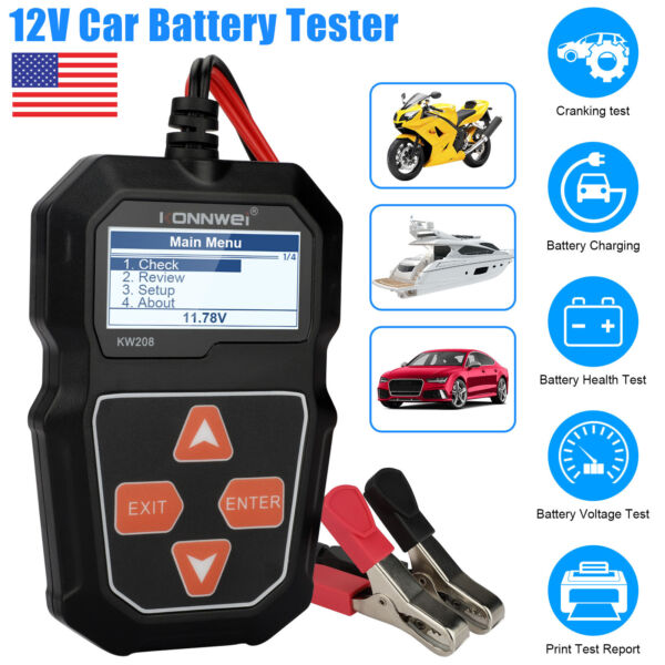 12V Auto Car Battery Tester Digital 100 2000CCA Cranking Charging Test Analyzer $27.98