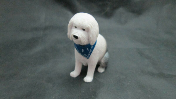 Dollhouse Miniature Rubber Dog Large Sitting White D9g w Blue Scarf $2.49
