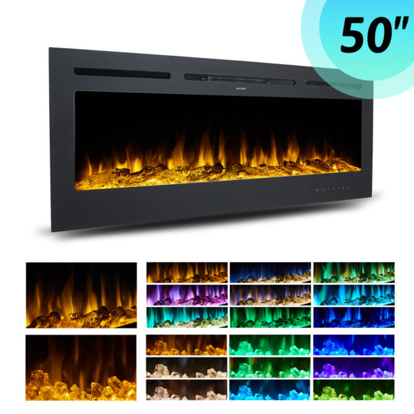 50in Electric Heater Recessed or Wall Mounted Fireplace Insert w 9 Flame Colors $274.90