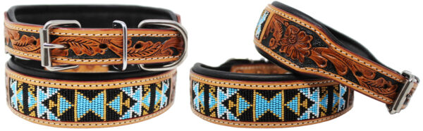 Hand Tooled Beaded Padded Leather Dog Collar 60125 $29.99
