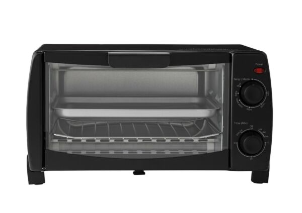 4 Slice Black Toaster Oven with Dishwasher Safe Rack amp; Pan 3 Piece Cooking