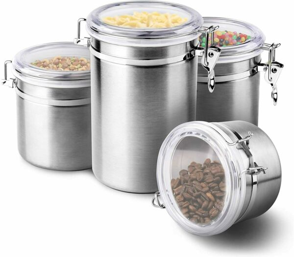 4 Pieces Stainless Steel Air Tight Canister Food amp; Coffee Storage Container Set