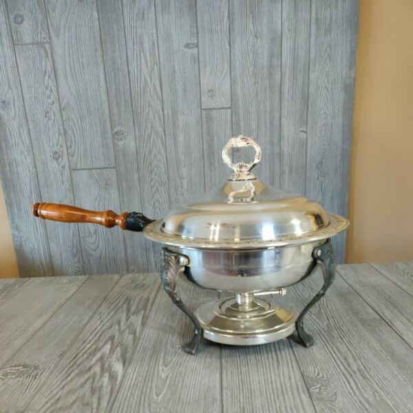 Vintage Sheridan Buffet Chafing Dish W Lid Stand amp; Burner party food warmer