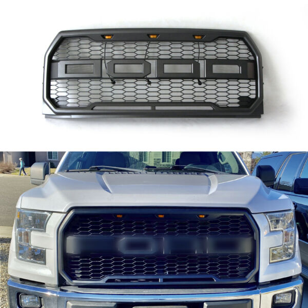 Fit 2015 2017 Ford F150 Grille Bumper Grille Raptor Style Grill W letters W LED