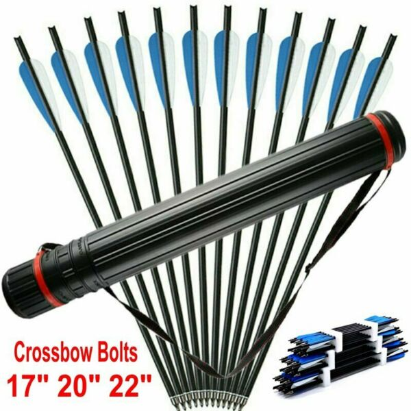 17quot; 20quot; 22quot; Carbon Arrows 8.8mm Crossbow Bolts F Crossbow Hunting Archery Quiver $26.99