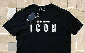DSQUARED 2 T SHIRT CREW NECK ICON BLACK BRAND NEW MEN GENUINE SIZE M $36.00