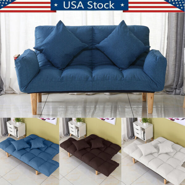 Memory Foam Futon Sofa Bed Lazy Couch Sleeper Convertible Foldable W Pillow US