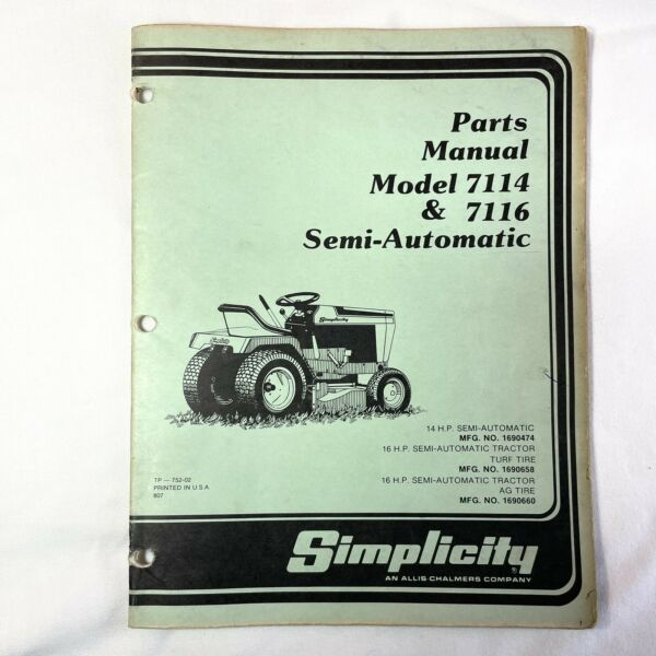 Simplicity Parts Manual Model 7114 and 7116 Semi Automatic Lawn Mower