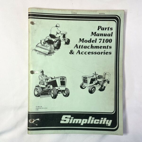 Simplicity Parts Manual Model 7100 Attachments amp; Accessories