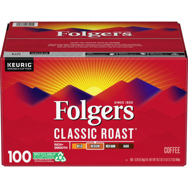 Folgers Classic Roast Coffee K Cups 100 ct. NEW FREE SHIPPING