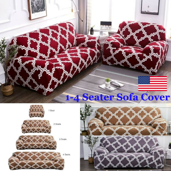 1 2 3 4 Seater Stretch Chair Sofa Covers Couch Cover Elastic Slipcover Protector $11.99