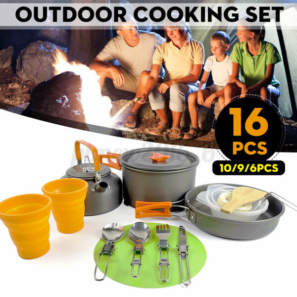 16pcs Portable Outdoor Cooking Set Bowl Cookware Hiking Tableware Camping te