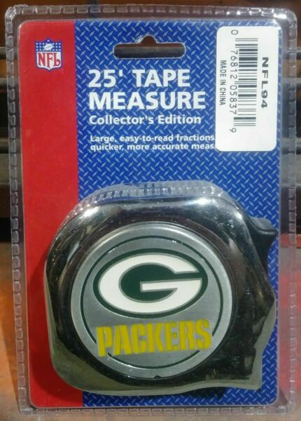 Great Neck 1quot; x 25#x27; NFL Tape Measure Green Bay Packers NFL94