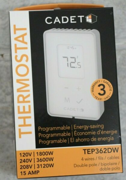 NEW Cadet 3600 Watt Programmable Electronic Thermostat Double Pole TEP362DW