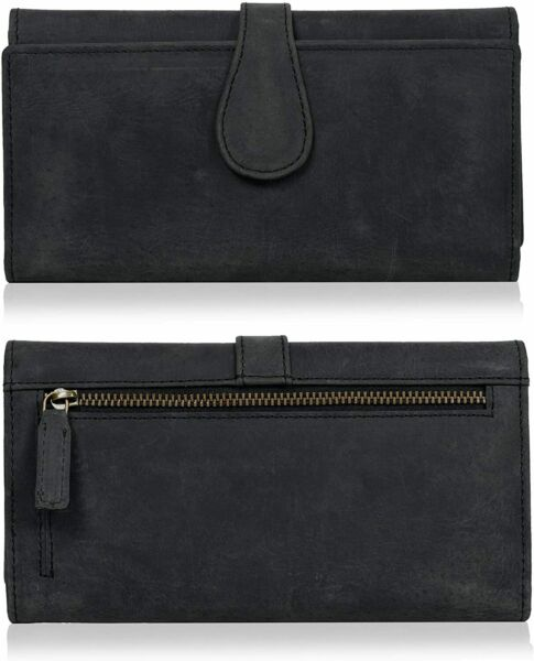 Leather RFID Blocking Black Wallets for Women Trifold Functional Ladies Wallet $24.00