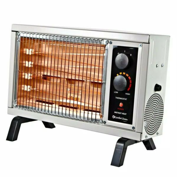 Radiant Electric Space Heater With Thermostat Portable 1500W Indoor Room House $43.87
