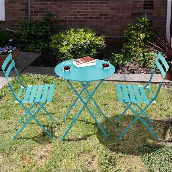 3 Piece Bistro Table Set Metal Folding Patio Bistro Set Outdoor Furniture Set $79.99
