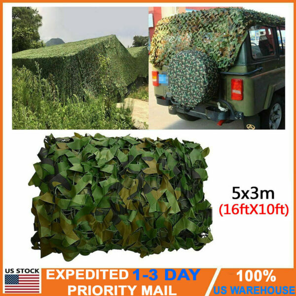 10x16FT Camouflage Woodland Military Net Camo Netting Hunting Camping Tent Cover