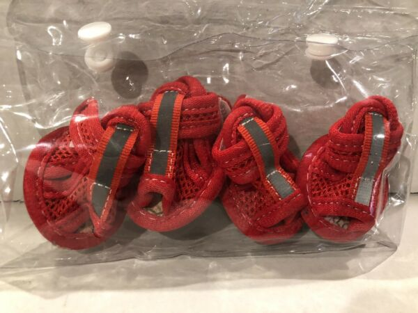 ACL Dog Shoes Size 1 Red Mesh Foot Protector XS Reflective Pet Booties New $7.99