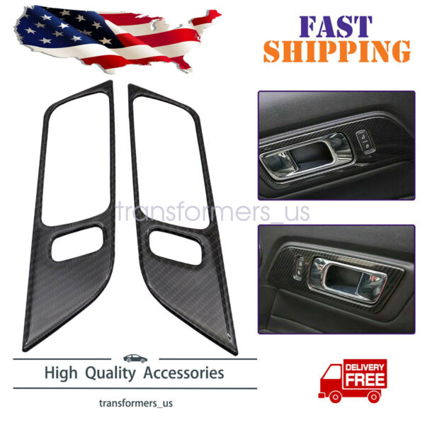 Carbon Fiber Interior Door Handle Trim Cover Fit For Ford Mustang 2015 2019 $11.99