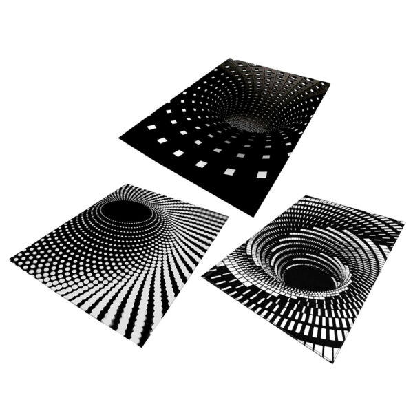 Indoor Large Modern Area Rugs 3d Black White Illusion Carpets for Living Room $42.38