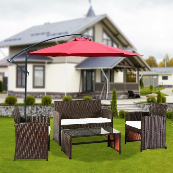 4 PC Patio Furniture Set PE Wicker Cushioned Outdoor Rattan Sofa Garden Backyard