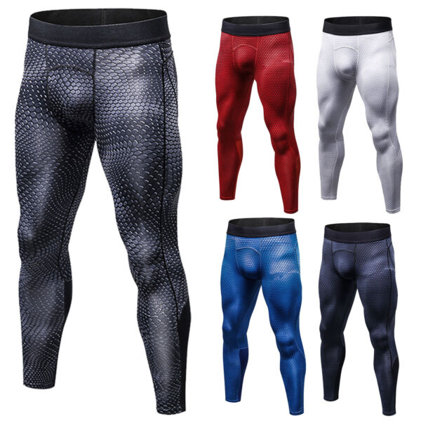 Men Bottom Compression Gym Sports Long Pants Leggings Achtiver Trousers Skin Fit