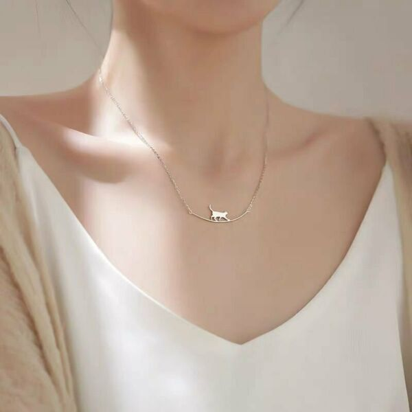 925 Silver Cute Cat Pendant Necklace Clavicle Charm Women Chain Jewelry Gifts $1.66