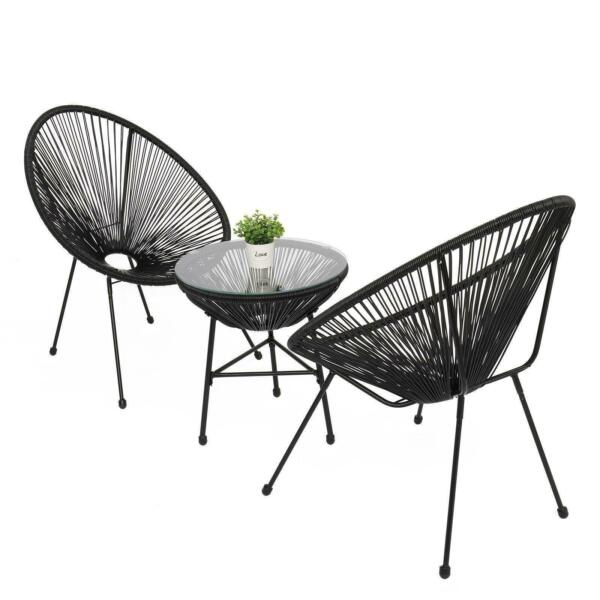3 Piece Patio Sets Bistro Furniture Hammock Weave Chair Tempered Glass Table Top