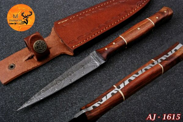 HAND FORGED DAMASCUS STEEL THROWING BOOT DAGGER KNIFE WITH WOOD HANDLE AJ 1615
