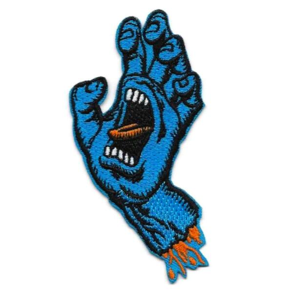 SCREAMING BLUE HAND IRON ON PATCH 3.5quot; Santa Cruz Skateboard Embroidery Applique