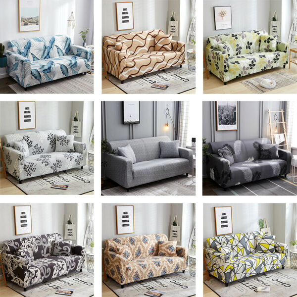 Printed Modern Sofa Slipcovers All wraped Stretch Couch Cover for 1 2 3 4 Seater