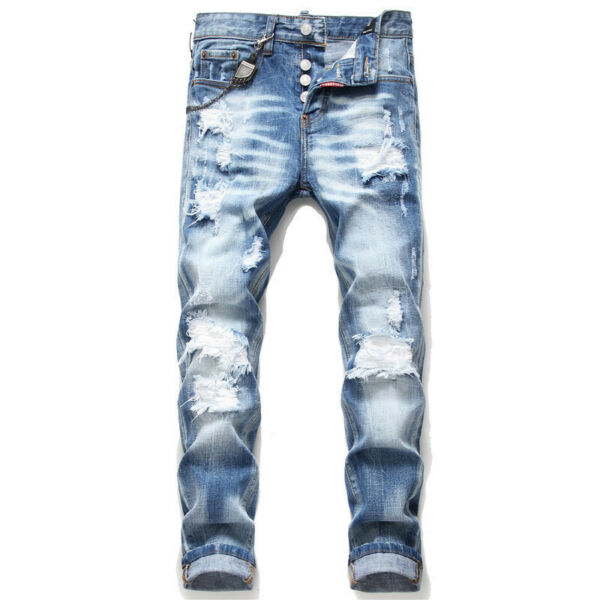 Men#x27;s Dsquared2 Rainbow Denim Personality Patch Destroyed Jeans Trousers Pants GBP 45.52
