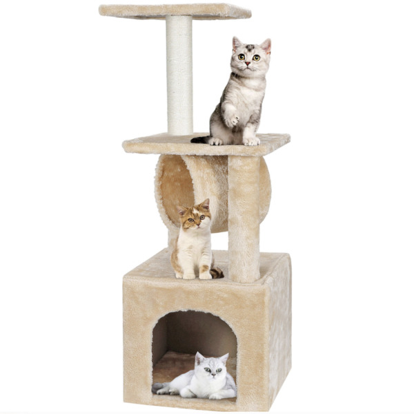 36quot; 3 Steps Pet Stairs Ladder Ramp Scratching Post Cat Tree Climber for Cat Dog $28.89