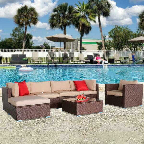 7 PCS Outdoor Patio Garden Rattan Furniture Sectional Wicker Sofa Set with Table $584.99