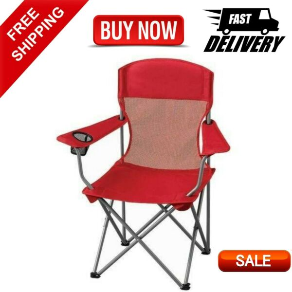 Basic Mesh Folding Camp Chair W Cup Holder Lightweight Camping Chair Red