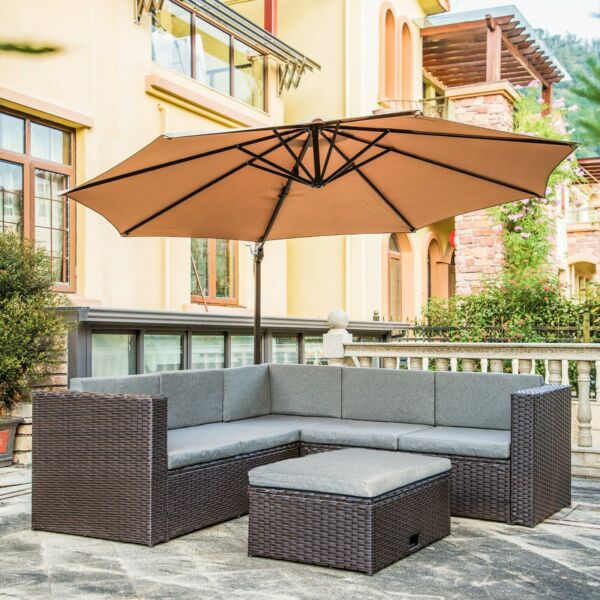 6 Seat Patio Outdoor Wicker Rattan Furniture Sectional Sofa Garden Table Cushion $629.97