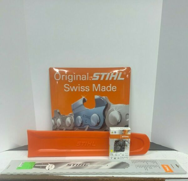 """NEW OEM Stihl 20"""" bar and chain and cover 3 8 pitch .050 gauge 72 Link $88.95"""