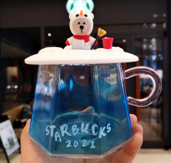 Starbucks Japan Mugs Mount Fuji 2021 New Year of the Ox Milk Glass Cups with Lid