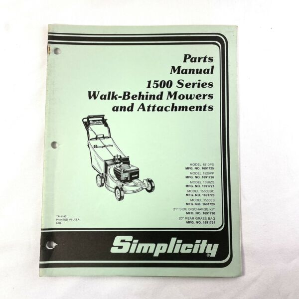 Simplicity Parts Manual Walk Behind Propelled Lawn Mower 1500 Series Attachments