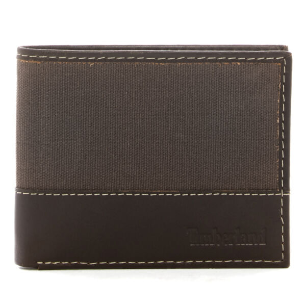 Timberland Mens Passcase Wallet Canvas amp; Leather Trim Bifold ID Card Case Holder $14.99
