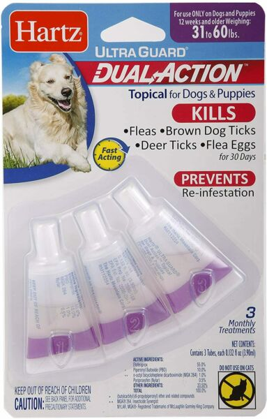 Hartz UltraGuard Dual Action Topical Flea amp; Tick for Dogs and Puppies 31 60 lbs $12.00