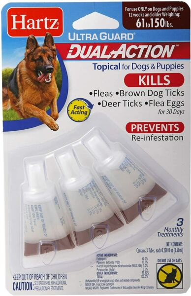Hartz UltraGuard Dual Action Flea amp; Tick Treatment for Dogs amp; Puppies 61 150 lbs $12.00