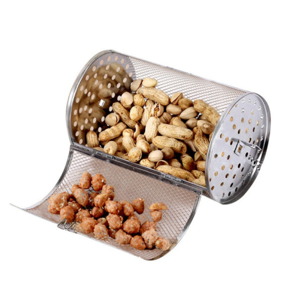 8quot; Stainless Steel BBQ Rotisserie Grill Oven Tumble Beans Peanut Roast Basket